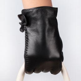$enCountryForm.capitalKeyWord Australia - Wholesale- 2016 women gloves lady gloves with bow soft sheep goat leather bowknot gloves Women's fashion all-match bow genuine sheepskin