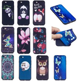 iphone panda case soft Canada - Soft TPU Case For Iphone 7 Plus 6 6S SE 5S 5S Galaxy S8 Plus Embossed Frosted Flower Butterfly Owl Panda Cute Silicone Gel Rose Covers Skin