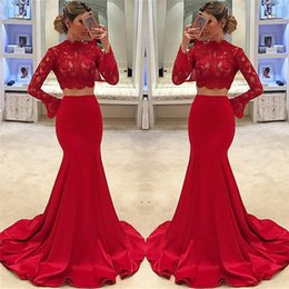 Barato Vestido De Renda De Sereia De Duas Peças Vermelho-Fabuloso Red Two Pieces Prom Dresses 2018 Mermaid Lace Cheap Formal Evening Gowns Neck Neck Sleeves Long Robe de soriee