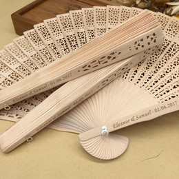 Wholesale personalized sandalwood folding hand fans with organza bag wedding favours fan party giveaways in bulk