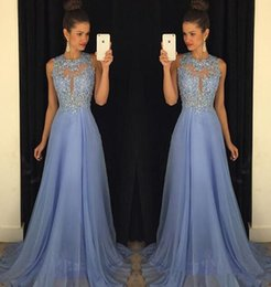 $enCountryForm.capitalKeyWord NZ - 2K17 Chiffon Sexy Sheer O Neck A Line Lace Applique Beaded Long Prom Dresses Maroon Lavender Sleeveless Backless Floor Train Jenner Dresses