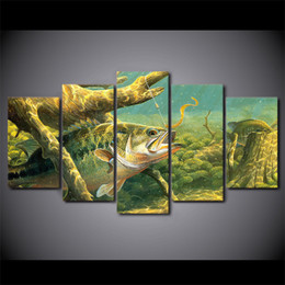 ocean canvas print art Australia - 5 Pieces HD Printed Canvas Art Ocean Fish Landscape Painting Decor Pictures Wall Art For Living Room Wall Poster