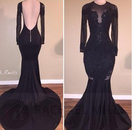 Barato Vestidos De Noite Longas Sexy-Hot Sale Elegant Black Illusion Prom Dresses 2017 Sexy Backless Mermaid Long Sleeves Stretch Long Evening Party Vestidos com Appliques Beaded