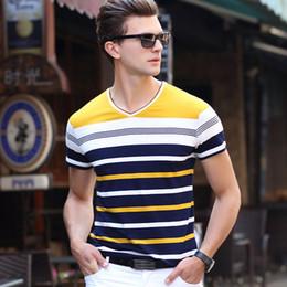 Mens Shirts Styles V Necks Canada - Brand Men's V-neck T-Shirt 2017 Summer Style Classic Striped Short Sleeve T Shirt Top Fashion Men Slim Fit Mens Top Tees Shirt MC002