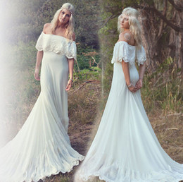 Beautiful Beach Pictures Australia - Country Bohemian Wedding Dress Boho Hot Sale Off the Shoulder Lace Bridal Gown Beach Beautiful robe de mariage 2017 Dresses