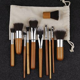 Set Maquillaje Pas Cher-11PCS Pinceaux de maquillage en bambou professionnel Set Eye Shadow Pinceaux Maquillage Fondation Blusher Kabuki Soft Brochas Maquillaje