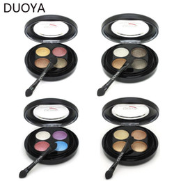 Glitter Pigment Eyeshadow Palette Canada - Wholesale- DUOYA Brand New Makeup Set 4 Color Eyeshadow Palette Glitter Make Up Cream Eye Shadow Pigment Mineral Cosmetics