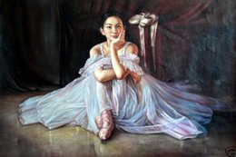 young girls skirts NZ - Framed Charming Oil painting Canvas,young Chinese beauty girl Little Ballerina in white Ballet skirt Multi Sizes Free Shipping Ab097
