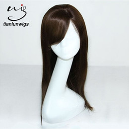 Women Beautiful Hair Canada - wholesale 16inch #4 straight beautiful silk top brazilian human hair full lace wig cheap lace front hair wig for balck women