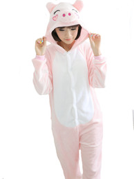 $enCountryForm.capitalKeyWord UK - Women Pink Pig Animal Winter Pajamas Cute Hooded Pyjamas Set All In One Cosplay Garment Cartoon Sleepwear Homewear