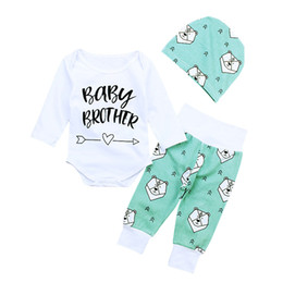 Wholesale New Baby Clothes Set Cartoon Bear Baby Brother Printed Boys Clothing Set Cotton Long Sleeve Romper Pants Hat Kids Suit Autumn Winter