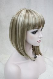 Cute Bob Wigs Canada - Hivision 2017 new fashion health Super Cute fashion cute BOB flaxen with blonde short straight women's full wig