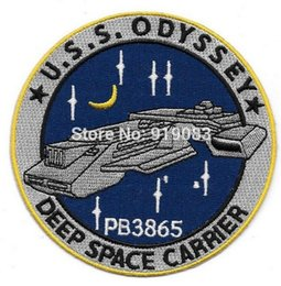 "embroidered logo patch Canada - 4"" Stargate SG-1 Atlantis U.S.S. Odyssey Ship Logo Patch tv movie series Embroidered Iron on Badge cosplay Halloween Costume"