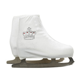 $enCountryForm.capitalKeyWord NZ - Wholesale- 24 Colors Child Adult Velvet Ice Figure Skating Shoes Cover Roller Skate Fabric Cover Accessories White Small Crown Rhinestone