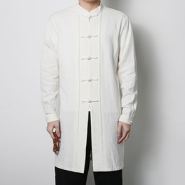 Chinese Kung Fu Jackets Canada - Wholesale- China Style Stand Collar and Button Mens Trench Coat Mens Kung Fu Windbreaker Jacket Male Fashion Casual Trench Jacket