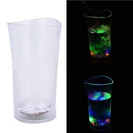 bamboo vases 2019 - Wholesale- Lighting Up With Water Cups LED Mugs Wineglass Water Induction Led Flash Cup Vase Acrylic Wine Led Cup For Pa