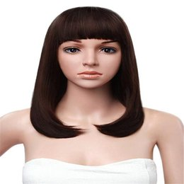 long straight dark brown wigs Canada - Fashion Wig Brazilian Human Hair Full Lace Wig Shortcut Black Women Straight Hair Color Is Dark Brown Full Lace Human Hair Wigs Senior Silk