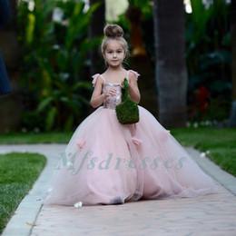 Kids Prom Dresses Straps Canada - Lovely Spaghetti Straps Tulle Floor Length Flower Girls Dresses Ball Gown Girls First Communion Dresses Kids Birthday Party Prom Dresses