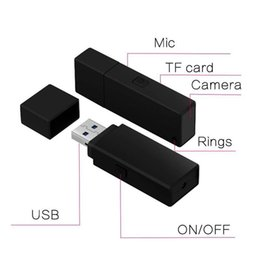 hd flash drives Canada - No Hole Usb Disk camera FULL HD 1080P USB Flash Drive Pinhole DVR portable Usb disk video recorder MAX support 32G TF card