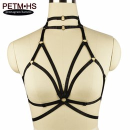Arnés Negro Para Mujer Baratos-Womens Sexy Bondage Body Harness Lencería Goth Witchy Funny Exotic Cage Bralette Black Tops Fetish Halloween Wear Liguero