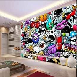Wholesale Papel De Parede Wall Paper Custom Baby Wallpaper Colorful Graffiti  Murals For Childrenu0027s Rooms Living Room Backdrop 3D Wallpaper Part 93