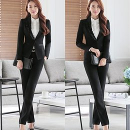 Costumes D'affaires Pour Femmes Pas Cher-2017 New Korean Fashion Office Uniform Designs Femmes Ruffles Jupe Costumes 2 Piece Set Femmes Business Blazer Ladies Skirt Suit