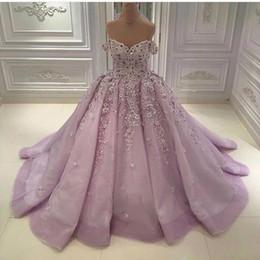 Luxury Modern Dubai Dresses NZ - Luxury Beads Off Shoulder Lilac Wedding Dresses Flower Plus Size A-Line Tulle Saudi Arabia Dubai African Bridal Gowns Ball Formal Custom