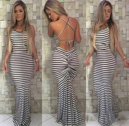Barato Longo Vestido Apertado Branco-Venda quente nova Preto e branco Stripes Elastic Tight Condole Sexy Backless Dress Womens Summer Celeb Boho Long Maxi Dress