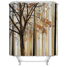 Mildew Waterproof Polyester Shower Curtain Orange Brown Fall Trees Digital Print With Hooks Bathroom Decor Gifts