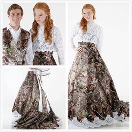 $enCountryForm.capitalKeyWord NZ - Lace Bolero Strapless A Line Camo Wedding Dresses Long Sleeves Applque Court Train Outdoor Wedding Bridal Gowns