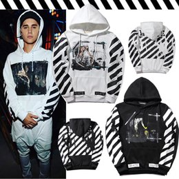 Barato Camisolas Do Basebol-OFF OW WHITE Tide Brand Religião Angel Stripe Hoodie Homens e mulheres Hooded Baseball Sweater Jacket Loose Sweatshirt Tops