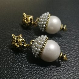 $enCountryForm.capitalKeyWord Canada - New Brand Vintage Pearl Leopard Stud Earrings for Women Fashion jewelry Metal earring Pendant Antique gold brincos Female Bijoux