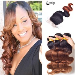 $enCountryForm.capitalKeyWord NZ - New Color Brazilian Human Virgin Hair Two Tone #1b 33 Brown Ombre Hair With Closure Honey Blonde Hair With Ombre Lace Closure