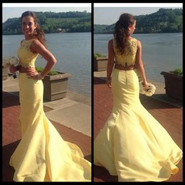 yellow lace dress sleeveless Australia - Yellow 2 Piece Lace Prom Dresses Mermaid Sleeveless Long Party Dress Formal Evening Gowns 2017 Custom Graduation Gowns