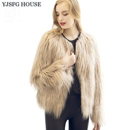 Manteau De Fourrure Faux Chaud Vintage Pas Cher-YJSFG HOUSE 3XL Manteau Faux fourrure Femmes Long Sleeve Vintage Mink Fox Jacket 2017 Warm Winter Outwear Noir Blanc Gris Beige Rose q170669