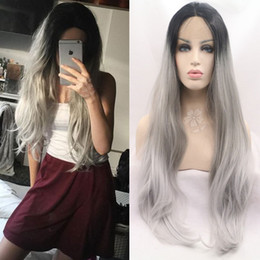 $enCountryForm.capitalKeyWord Australia - Ombre Grey Straight Lace Front Wig Heat Resistant Fibre Two Tone Black Grey Ombre Synthetic Lace Front Wig With Baby Hair For Black Women