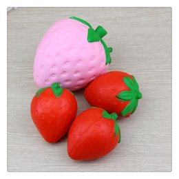 strawberry coin UK - Cute Jumbo Strawberry Squishy Kawaii Squishies Slow Rising Pendant Phone Straps Charms Kid Toys Strawberry Squishies Ice Cream KeyChains