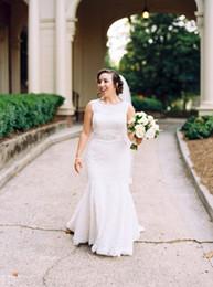 $enCountryForm.capitalKeyWord Canada - Elegant Simple long mermaid wedding dress sheath Jewel lace Cheap plus size wedding dress Column Garden New bridal gowns
