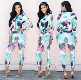 Geometric Art Print Canada - New arrival Women 's explosive new autumn casual digital geometric printing color sports suit WT031 Women's Tracksuits