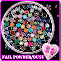 Décoration En Acrylique Pas Cher-80 couleurs / set Nail Art Acrylique 3D Nail Art Formes de prunier Glitter Sequins Décoration DIY Beauty Salon Kit