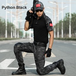 Chinese  Summer Short Multicam Shirts Uniform Camouflage Set Men Army Tactical Combat Shirt + Cargo Pants Paintball Airsoft Clothes Set With Pads manufacturers
