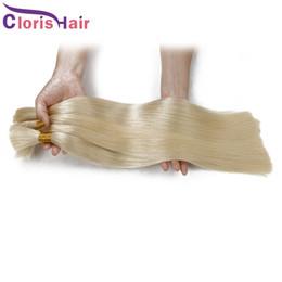 Sales Human Bulk Hair Canada - Platinum Blonde Human Hair Bulk No Weft Thick Silk Straight Brazilian Hair Extension in Bulk for Sale Cheap 613 Weave Bulk