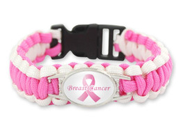 $enCountryForm.capitalKeyWord NZ - wholesale 200pcs lot 7 styles Pink Breast Cancer Fighter Hope Ribbon Awareness Paracord Bracelets Blue Yellow Black Outdoor Camping