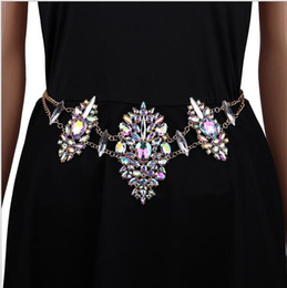 Crystal Waist Chains Canada - 30pcs Fashion body belly chain Charm Exaggerated Night Club Party crystal Prethoracic Body waist Chains Statement Women Necklace jewelry F05
