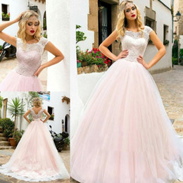 2017 vintage pale pink wedding dresses bohemia lace scoop neckline tulle dress for weddings custom quality v back cap sleeves wedding gown