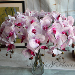 Discount real touch orchid flowers - Artificial Flowers Real Touch Artificial Moth Orchid Butterfly Orchid for new House Home Wedding Festival Decoration 8pc