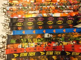 Superhero Keychains Canada - Hot Sale! 100pcs Mix Style Superhero Marvel DC Lanyard Strap Badge ID Running Cell Holder Key Chains New