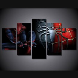 Discount free hd movies - 5 Pcs Set Framed HD Printed Movie Spider Man Group Painting wall art room decor print poster picture canvas Free shippin