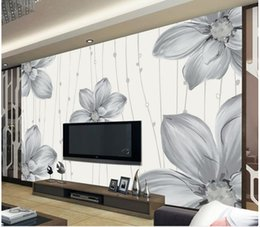 Modern Pattern Fabric Canada - Top Classic 3D European Style Modern simple hand painted floral pattern mural TV wall