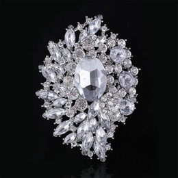 $enCountryForm.capitalKeyWord NZ - Large Brooch Bouquet Sparkly Silver Boutonniere Corsage Crystal Rhinestone buckle Flower Pins Swarovski Wedding Big Brooch Pin Best Jewelry